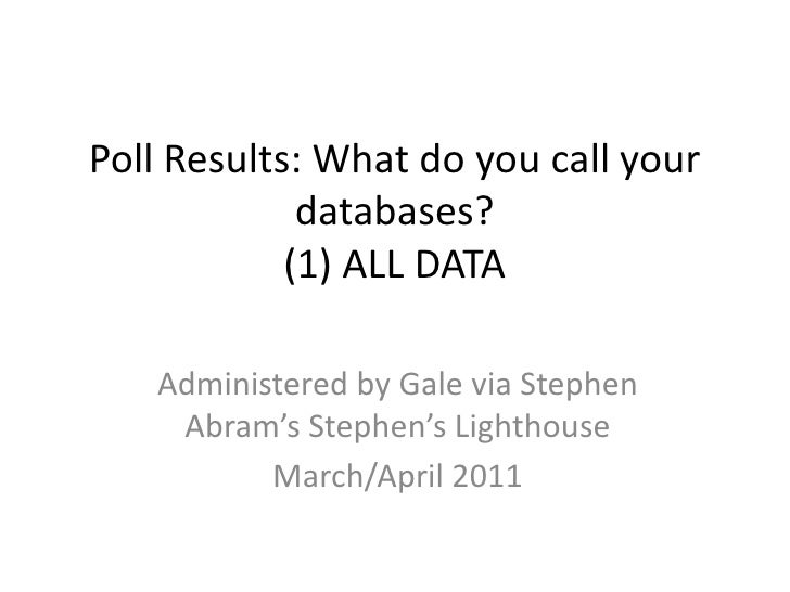 Poll Results: What do you call your databases?(1) ALL DATA<br />Administered by Gale via Stephen Abram's Stephen's Lightho...