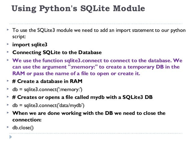 how to create a db in sql using python