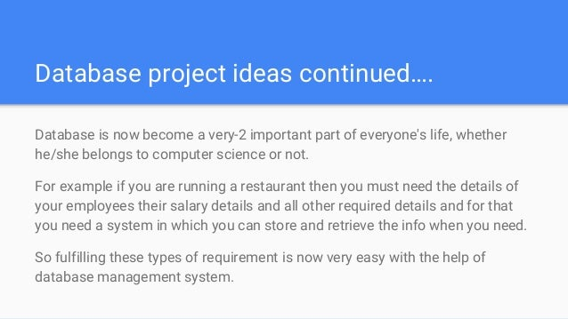 database projects for students Php projects - free download php projects with source code here are lots of php projects for students you can download php sample projects, ideas, topic and titles.