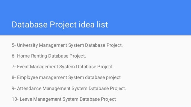database projects for students We provide vbnet, aspnet, php, asp, java, c# programming, c and c++ projects for it, diploma and engineering students we provide the best complete project listing with form design, source code, project report, database structure of live project, mini project, project guide.