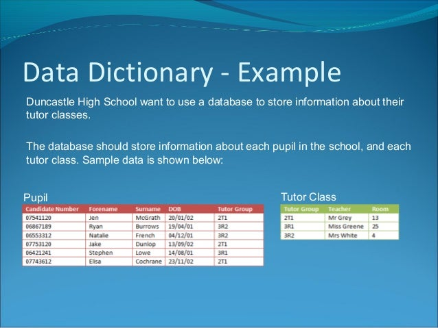 Data dictionary for One dictionary