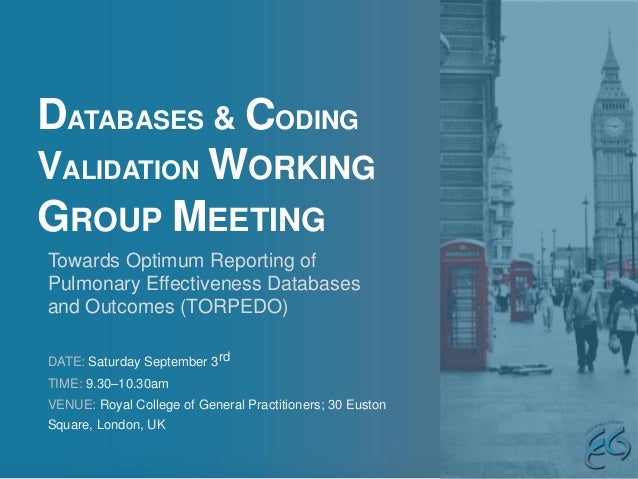 DATABASES & CODING VALIDATION WORKING GROUP MEETING DATE: Saturday September 3rd TIME: 9.30–10.30am VENUE: Royal College o...