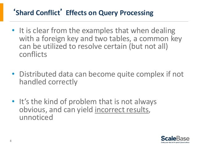 8 'Shard Conflict' Effects on Query Processing • It is clear from the examples that when dealing with a foreign key and tw...