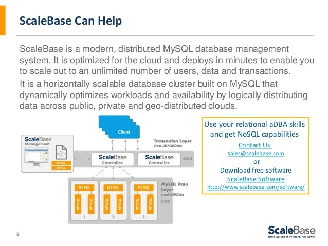 9 ScaleBase Can Help ScaleBase is a modern, distributed MySQL database management system. It is optimized for the cloud an...