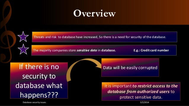 security issues with databases by jing Full-text paper (pdf): security issues and their techniques in dbms - a novel  survey  abstract nowadays a database security has become an important  issue in technical world  guoliang zou, jing wang, dongmei huang [6.
