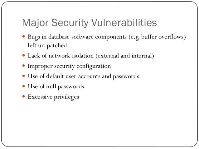 database security issues Murray iip-63 prehend the fundamental nature of database security issues this paper presents a set of sub-topics for inclusion in a database security component of a course.