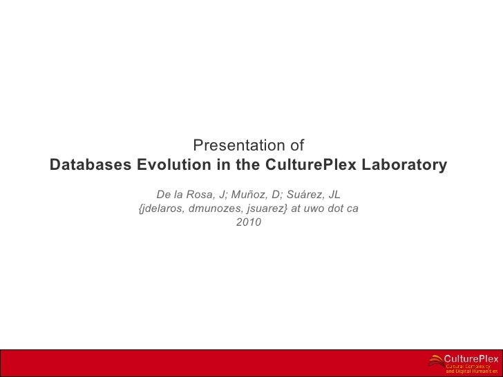 Presentation of Databases Evolution in the CulturePlex Laboratory De la Rosa, J; Muñoz, D; Suárez, JL {jdelaros, dmunozes,...