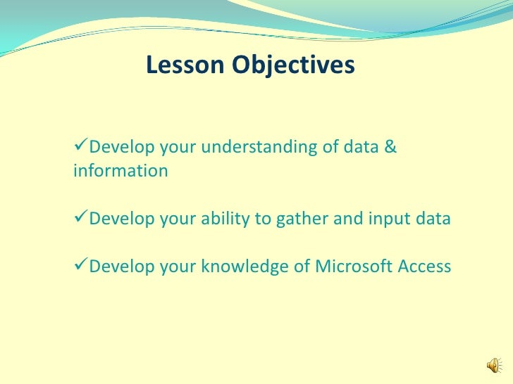 Lesson Objectives<br /><ul><li>Develop your understanding of data & information