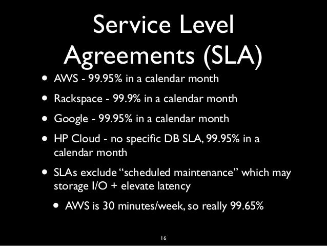 comparison of aws and rackspace slas Azure, aws, and telstra iaas use proprietary cloud engines with rackspace notably uses the openstack platform, and optus as the early provider embraces vmware vcloud consumer api one of the add-on benefits with cloud is the ability to programmatically manage your infrastructure via api and various programming languages.