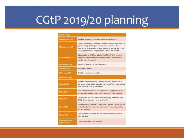 CGtP 2019/20 planning Editorial Stage 15 September 2018 Deadline for editors to agree any formatting changes 30 September ...