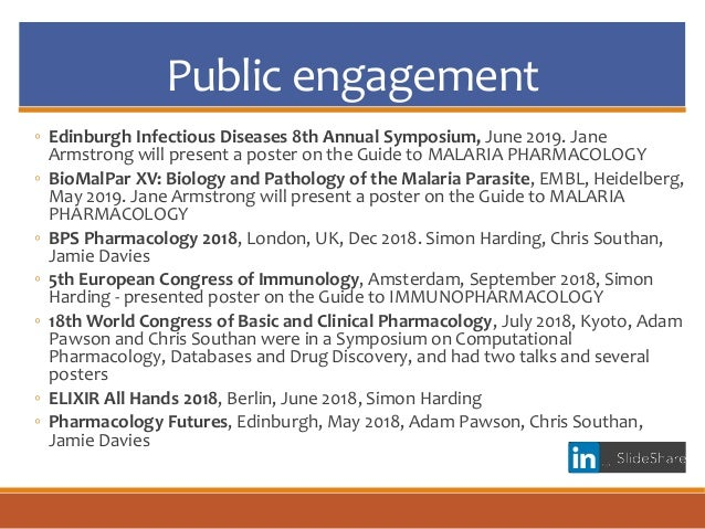 Public engagement ◦ Edinburgh Infectious Diseases 8th Annual Symposium, June 2019. Jane Armstrong will present a poster on...