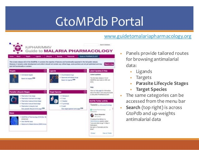 GtoMPdb Portal www.guidetomalariapharmacology.org • Panels provide tailored routes for browsing antimalarial data: • Ligan...