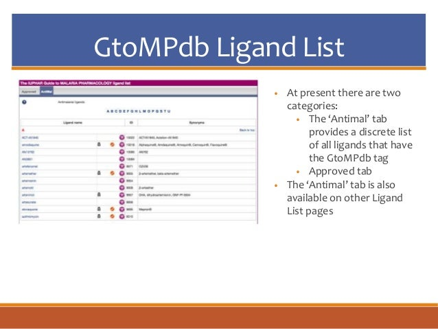 GtoMPdb Ligand List • At present there are two categories: • The 'Antimal' tab provides a discrete list of all ligands tha...