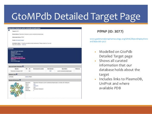 GtoMPdb Detailed Target Page • Modelled on GtoPdb Detailed Target page • Shows all curated information that our database h...