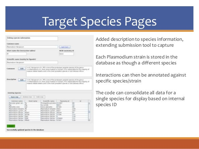 Target Species Pages Added description to species information, extending submission tool to capture Each Plasmodium strain...