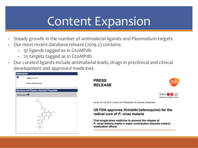 Content Expansion • Steady growth in the number of antimalarial ligands and Plasmodium targets • Our most recent database ...