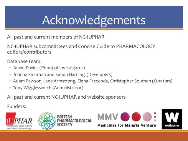 Acknowledgements All past and current members of NC-IUPHAR NC-IUPHAR subcommittees and Concise Guide to PHARMACOLOGY edito...