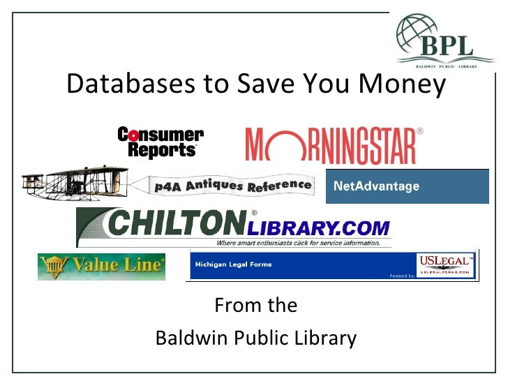 Databases to Save You Money From the Baldwin Public Library