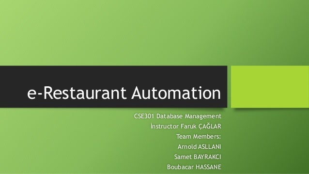 E-Restaurant Management System