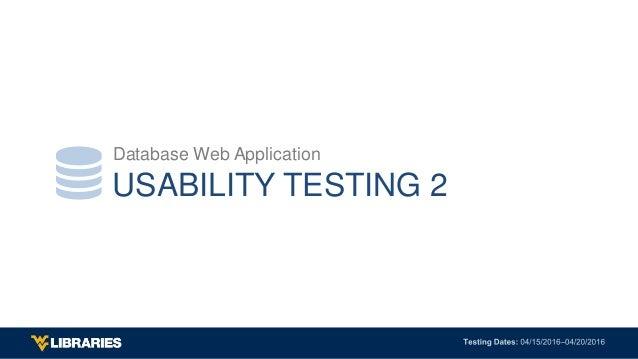 USABILITY TESTING 2 Database Web Application 
