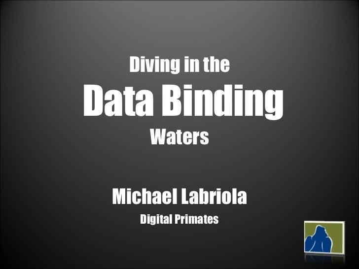 Diving in the  Data Binding Waters Michael Labriola Digital Primates