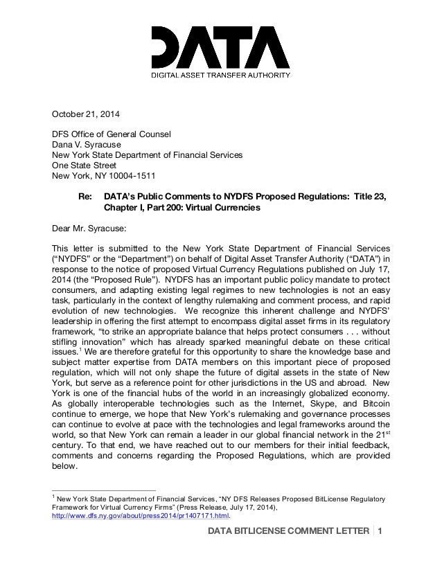 DATA BITLICENSE COMMENT LETTER 1 October 21, 2014 DFS Office of General Counsel Dana V. Syracuse New York State Department...