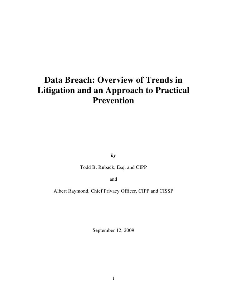 Data Breach: Overview of Trends in Litigation and an Approach to Practical               Prevention                       ...