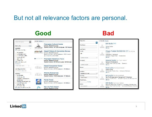 But not all relevance factors are personal.        Good                     Bad                                           ...