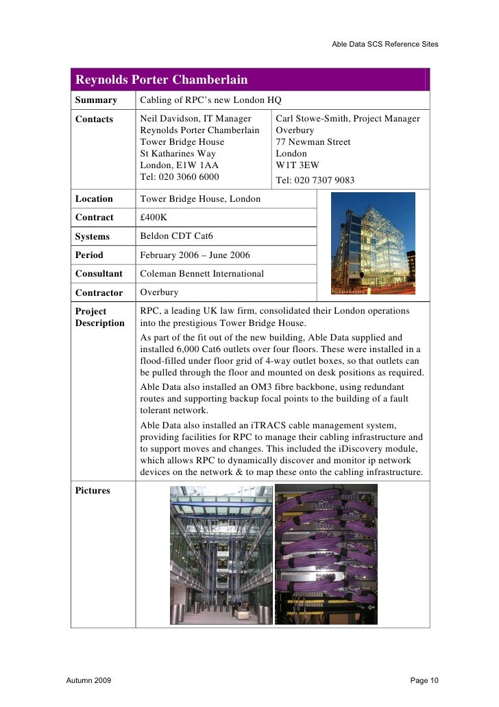 Able Data SCS Reference Sites  Northumberland Hotel  Summary       Mayflex, Excel Cat 5e - Northumberland Hotel  Contact  ...