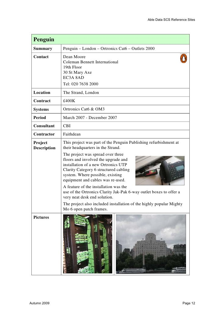 Able Data SCS Reference Sites  London Transport Museum  Summary          Structure Cabling & AV Cabling  Location         ...
