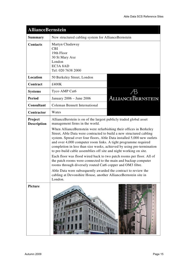 Able Data SCS Reference Sites  eBay Berlin  Summary          Cabling of building in Berlin.  Contact          Kevin Wenman...