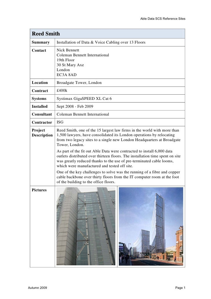 Able Data SCS Reference SitesAshmolean MuseumSummary Cabling of Major New Building ExtensionContact        Dr Jonathan Mof...