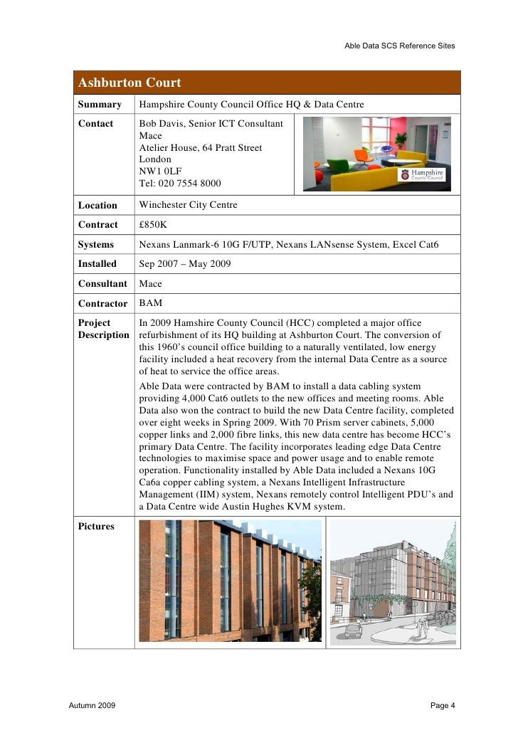 Able Data SCS Reference Sites  Veolia Three Valleys Water  Summary          Cabling of building  Contact          Bob Davi...