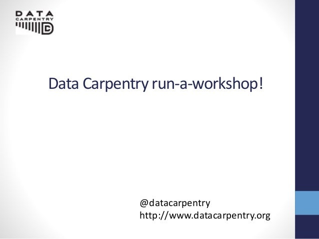 Data carpentry run-a-workshop