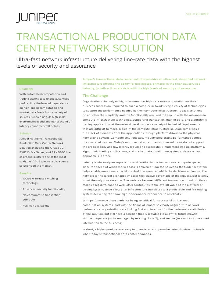 Transactional Production Data Center Network Solution