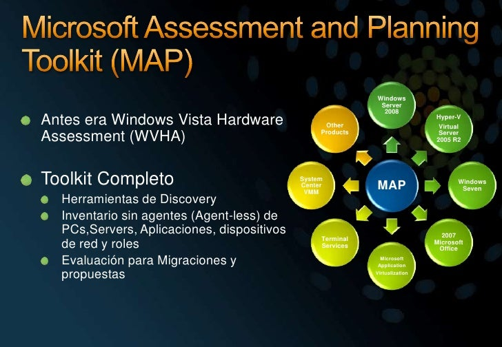 Microsoft Assessment and Planning Toolkit (MAP)<br />Antes era Windows Vista Hardware Assessment (WVHA)<br />Toolkit Compl...