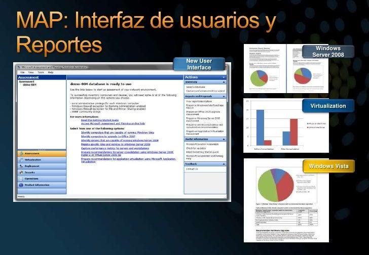 MAP: Interfaz de usuarios y  Reportes<br />Windows Server 2008<br />New User Interface<br />Virtualization<br />Windows Vi...
