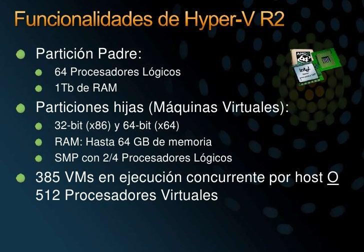 Funcionalidades de Hyper-V R2<br />Partición Padre:<br />64 Procesadores Lógicos<br />1Tb de RAM<br />Particiones hijas (M...