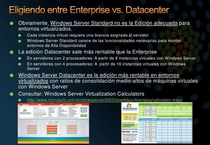 Eligiendo entre Enterprise vs. Datacenter<br />Obviamente, Windows Server Standard no es la Edición adecuada para entornos...