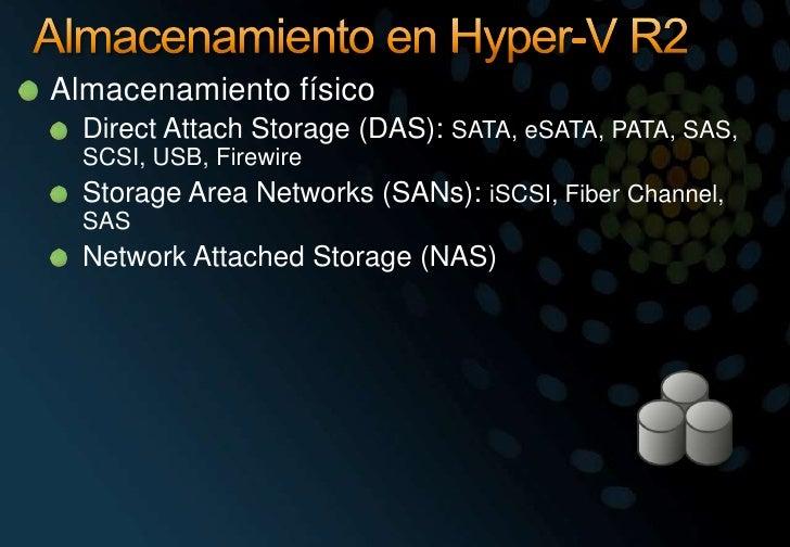 Almacenamiento en Hyper-V R2<br />Almacenamiento físico<br />DirectAttach Storage (DAS): SATA, eSATA, PATA, SAS, SCSI, USB...