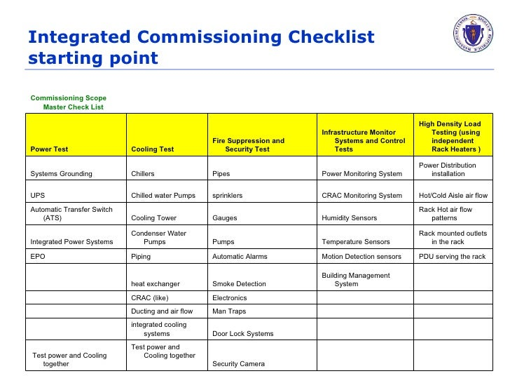 Commissioning checklist example for Data center checklist template