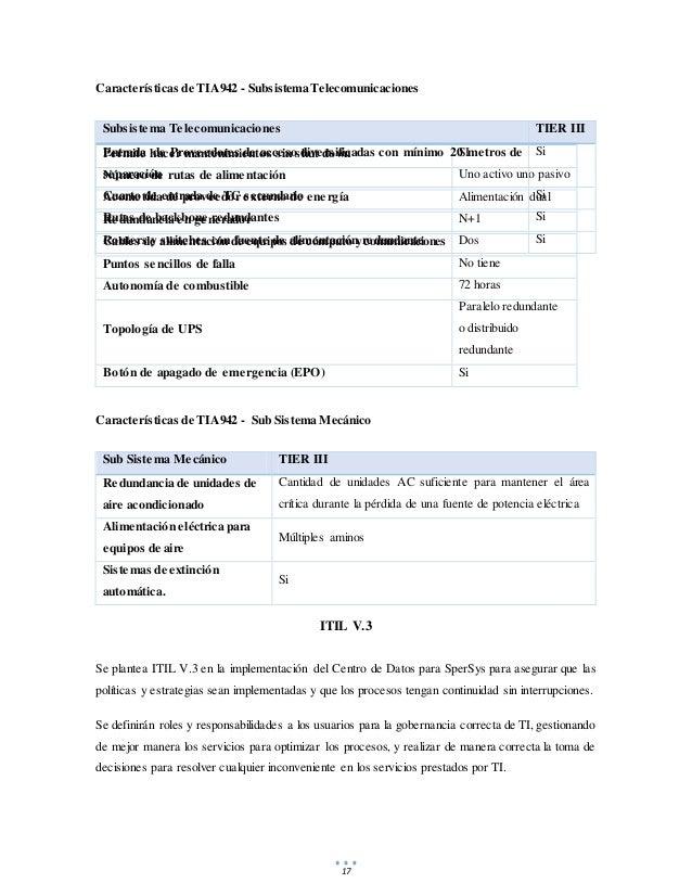 17 Características de TIA942 - Subsistema Telecomunicaciones Características de TIA942 - Sub Sistema Mecánico Sub Sistema ...
