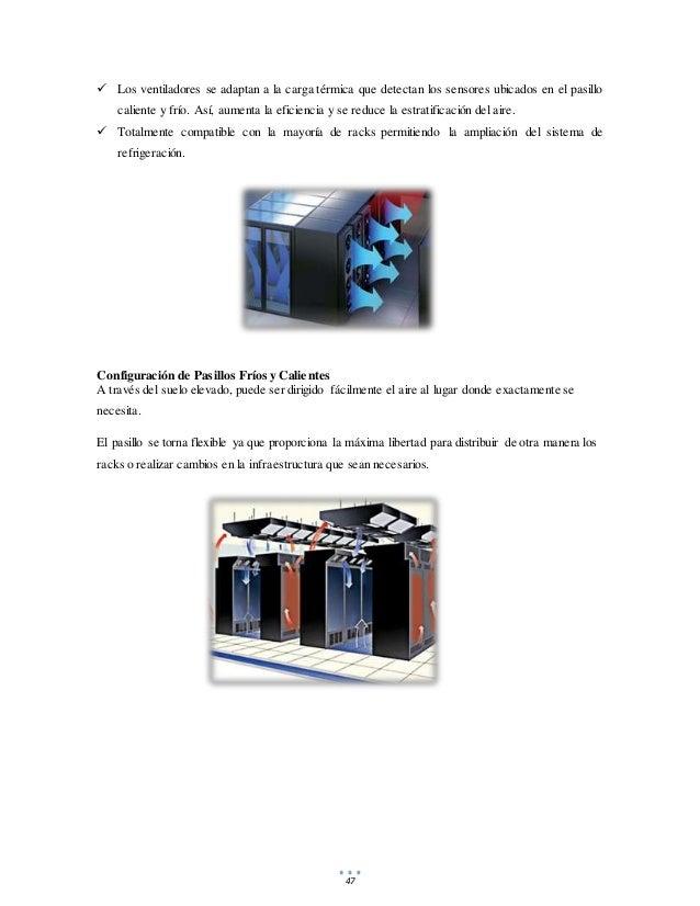 47  Los ventiladores se adaptan a la carga térmica que detectan los sensores ubicados en el pasillo caliente y frío. Así,...