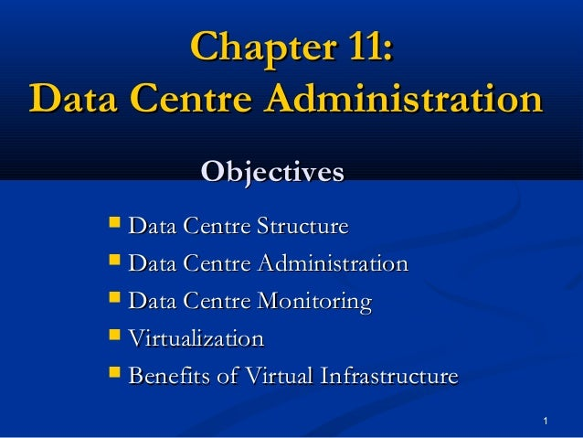 Chapter 11: Data Centre Administration Objectives Data Centre Structure  Data Centre Administration  Data Centre Monitor...