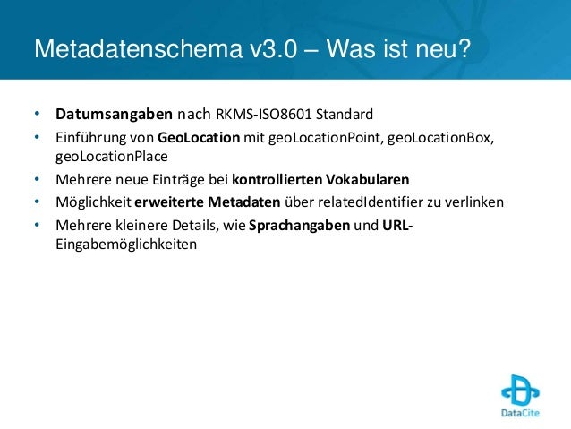 DataCite Metadatenschema v3.0 - DataCite 2014 Slide 3