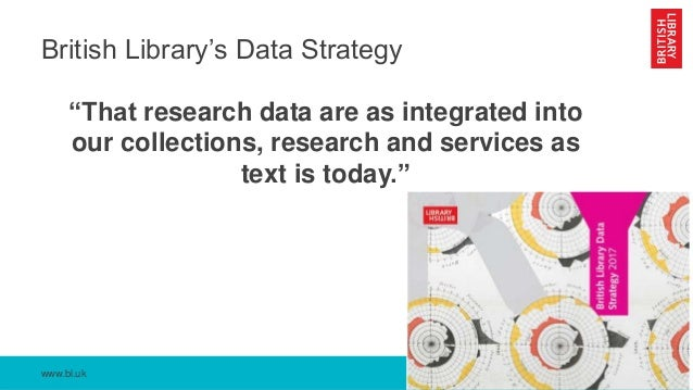 """www.bl.uk British Library's Data Strategy """"That research data are as integrated into our collections, research and service..."""