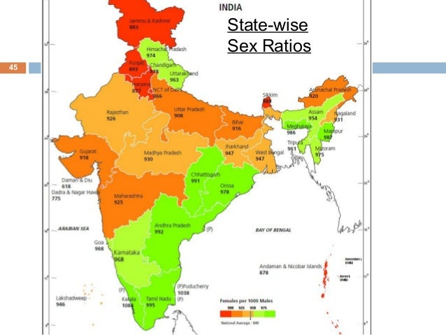 lowest sex ratio in india state wise in Billings