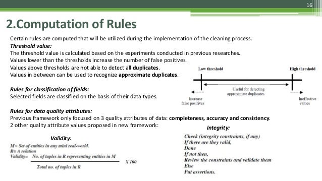 16 2.Computation of Rules Certain rules are computed that will be utilized during the implementation of the cleaning proce...