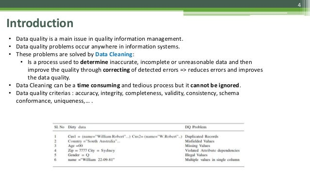 4 Introduction • Data quality is a main issue in quality information management. • Data quality problems occur anywhere in...