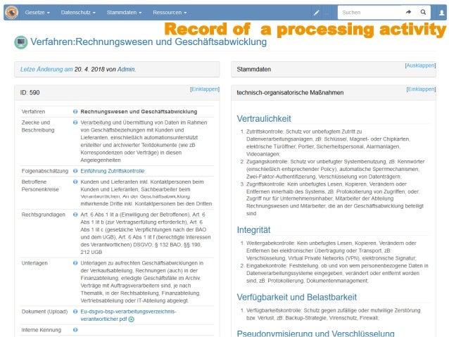 Data cockpit: Semantic MediaWiki as GDPR compliance tool